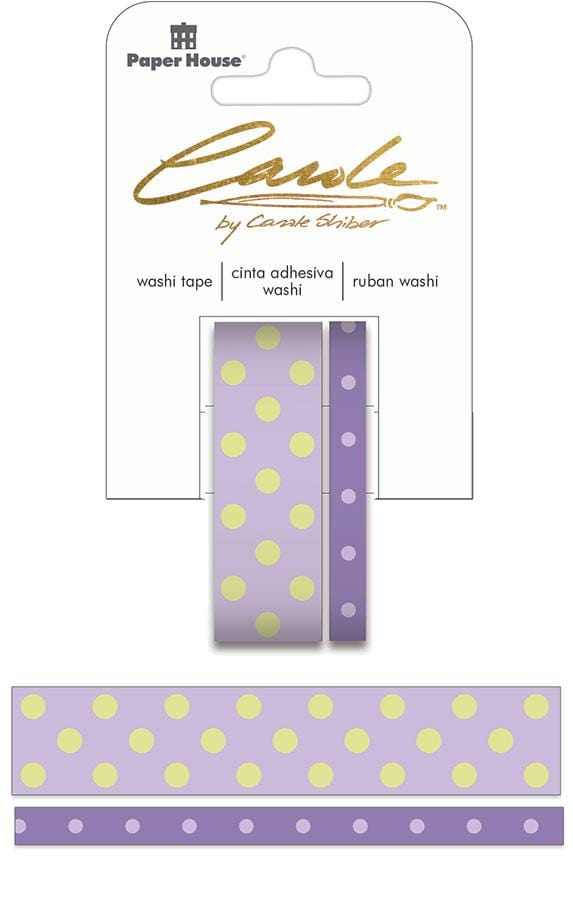 Carole Shiber Polka Dotted, Lavender & Honeydew, Washi Tape Set