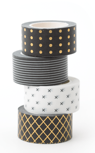 The Pink Orange- Black and White Washi Tape