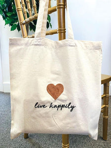 The Pink Orange- Live Happily Tote Bag