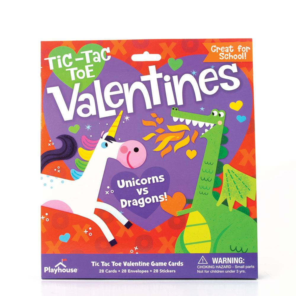 Unicorns and Dragons Tic Tac Toe Valentines
