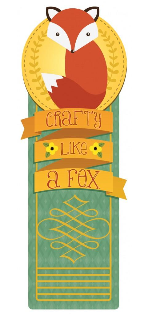 crafty like a fox glitter bookmark