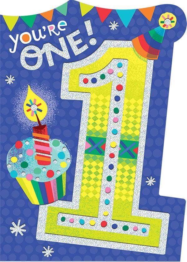 1st birthday foil card