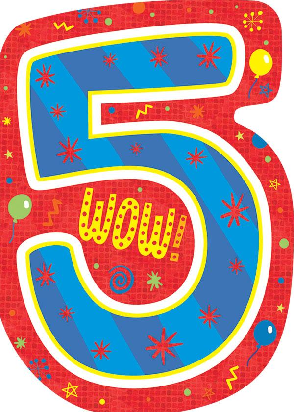 5th birthday foil card