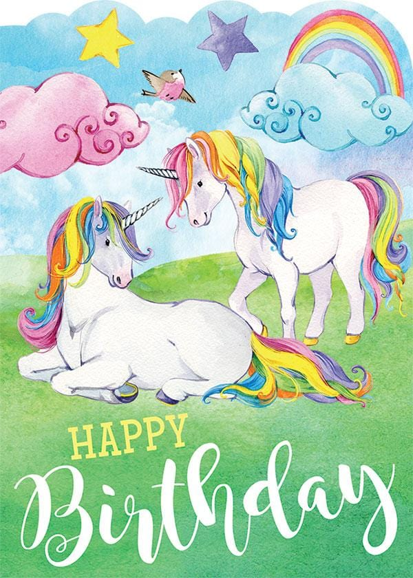 Rainbow Unicorns Glitter Card