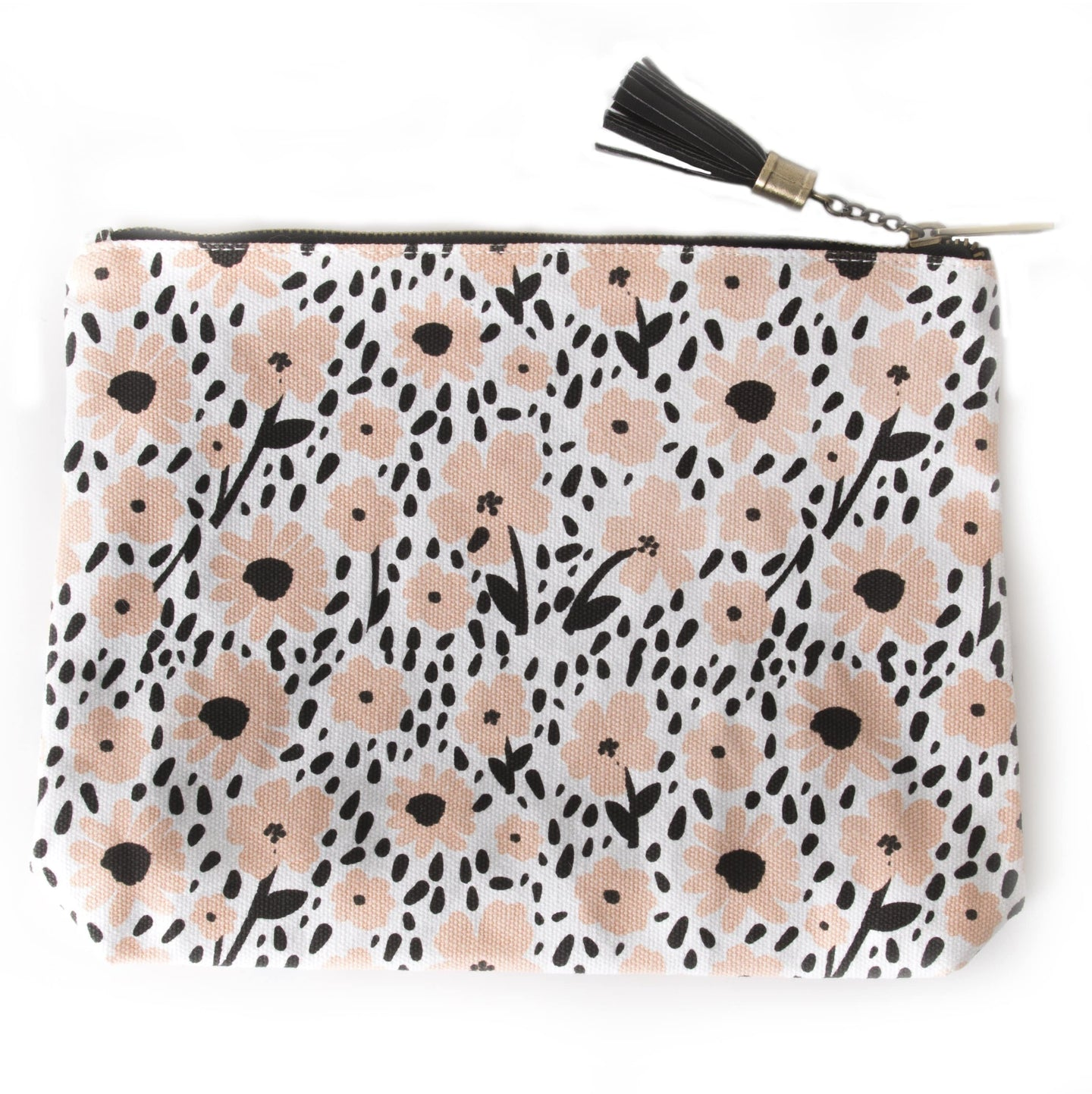The Pink Orange- Floral Canvas Pouch