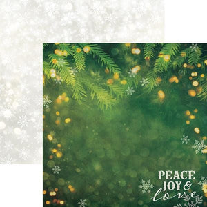 "Peace Joy and Love 12"" Double Sided Scrapbook Paper"