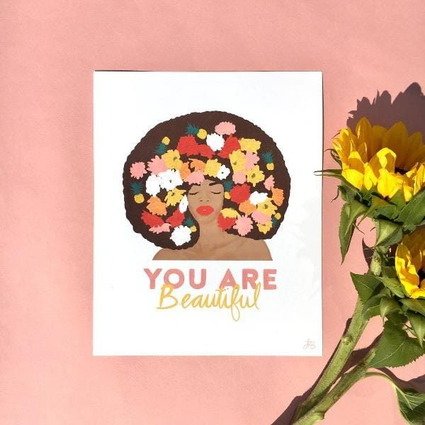 You are Beautiful Art Print - Pineapple Sundays