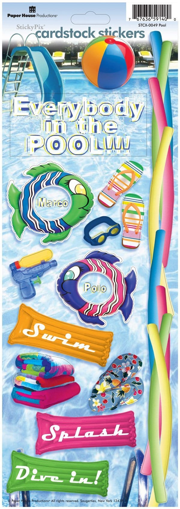 Swimming Pool Cardstock Stickers