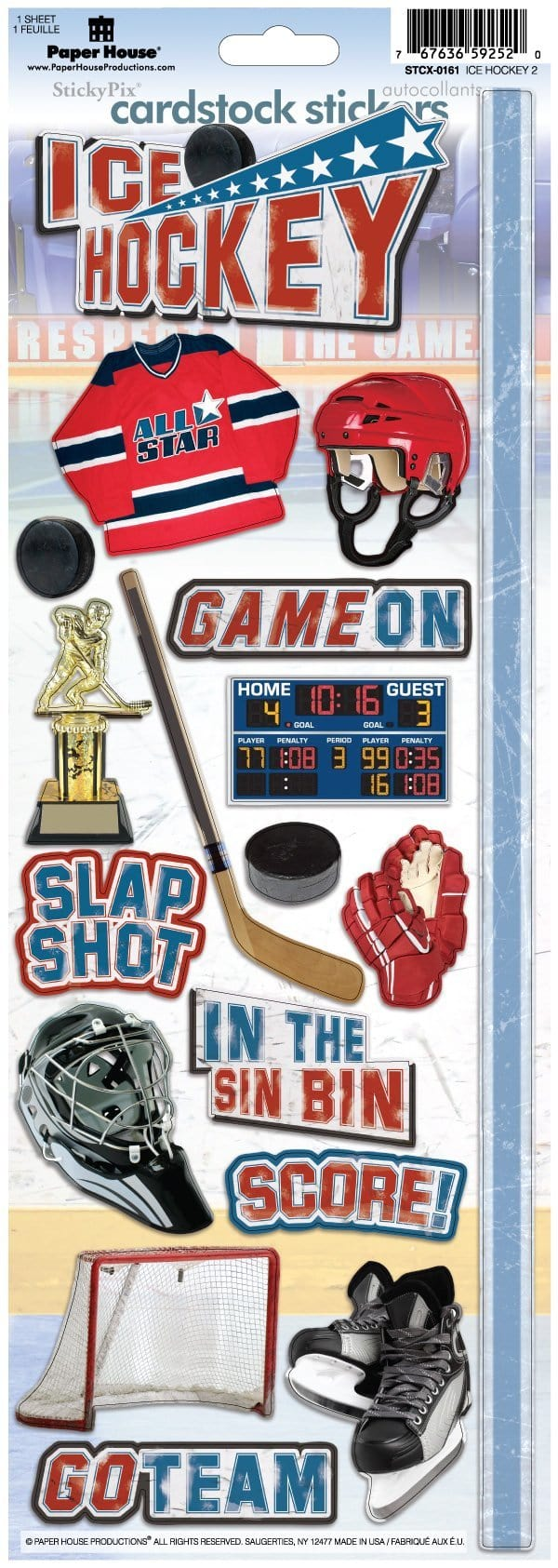 Ice Hockey Cardstock Stickers