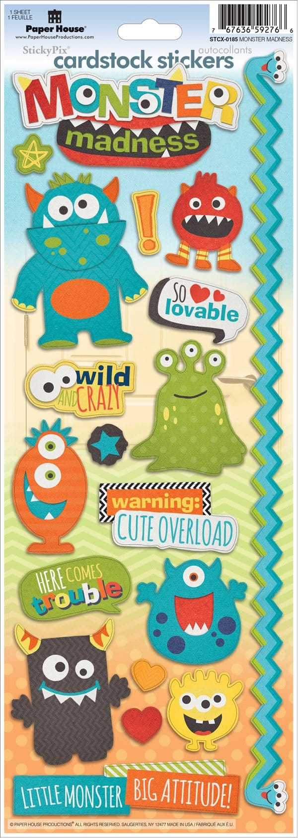 Monster Madness Cardstock Stickers