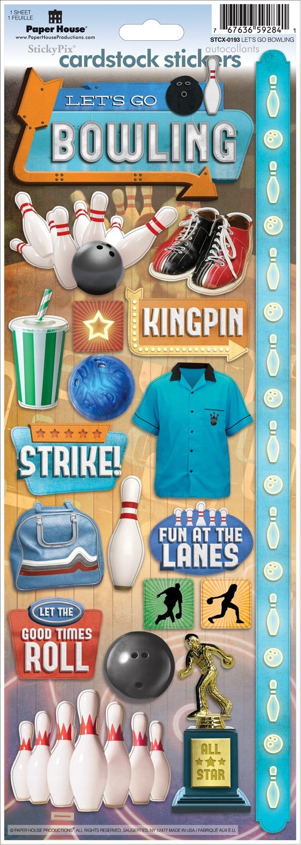 Let's Go Bowling Cardstock Stickers