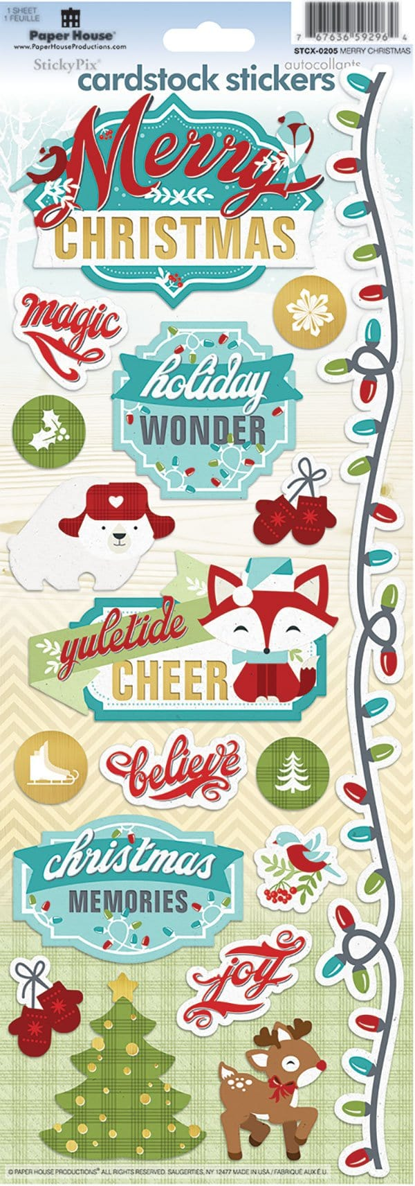 Merry Christmas Cardstock Stickers