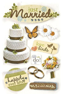 Just Married 3D Sticker