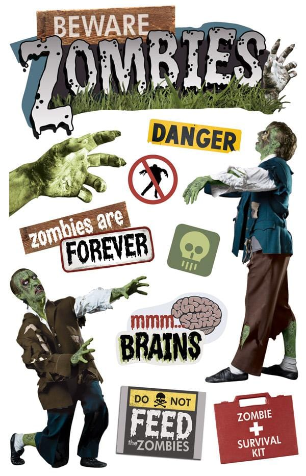 Beware Zombies 3D Sticker