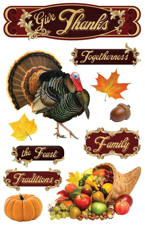 Give Thanks  3D Sticker