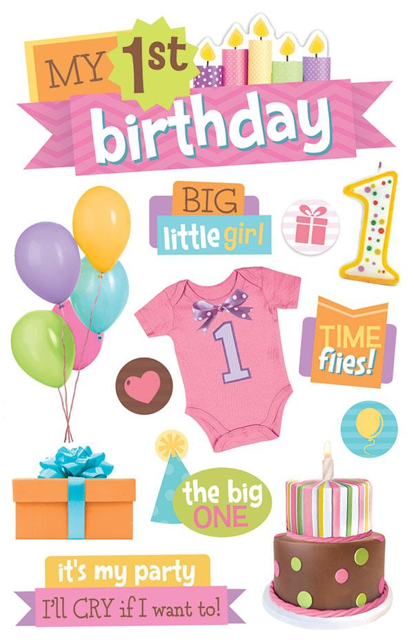 1st birthday girl 3D sticker