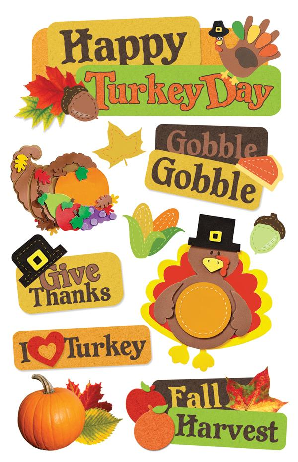 Happy Turkey Day 3D Sticker