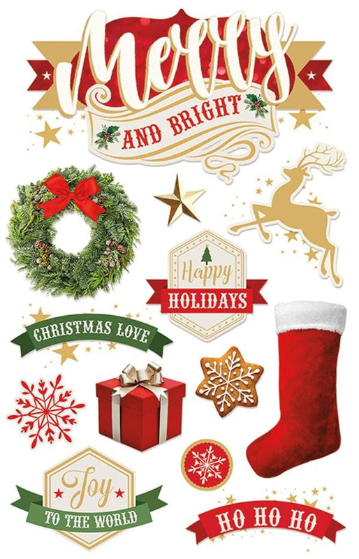Merry and Bright 3D Sticker