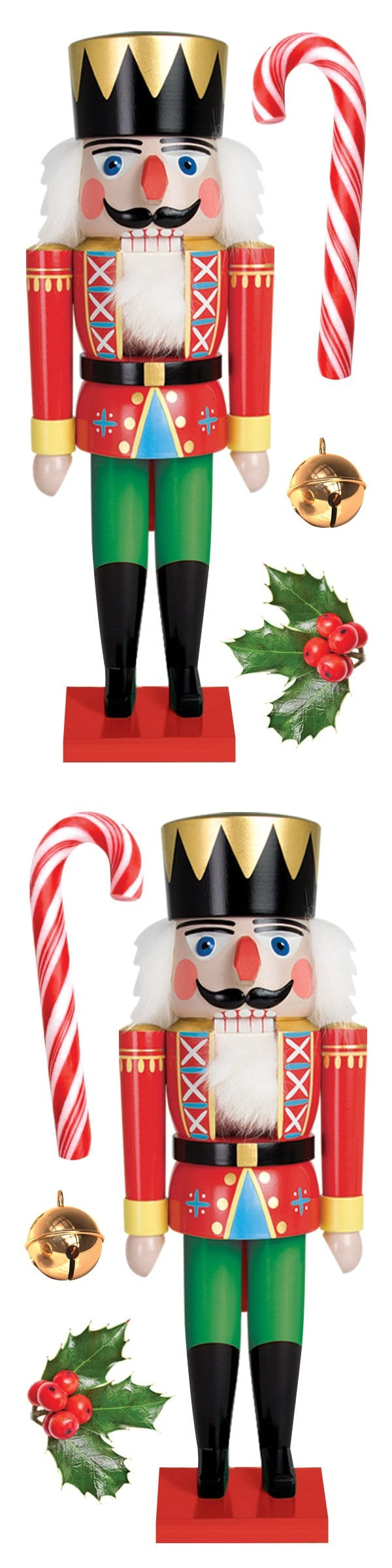 Nutcracker and Candy Cane 3D Sticker Embellishments