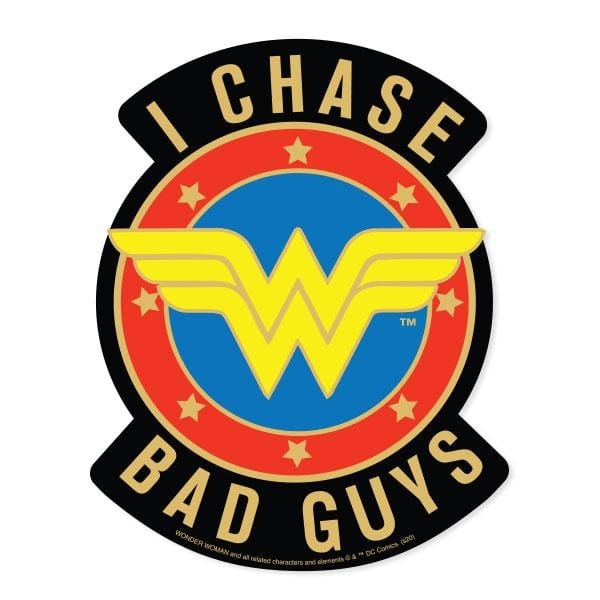 Wonder Woman I Chase Bad Guys Vinyl Sticker