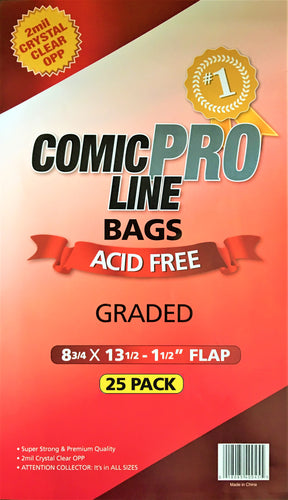 Crystal Clear 2mil PRO Comic Bags - Graded Book Size (25pk)