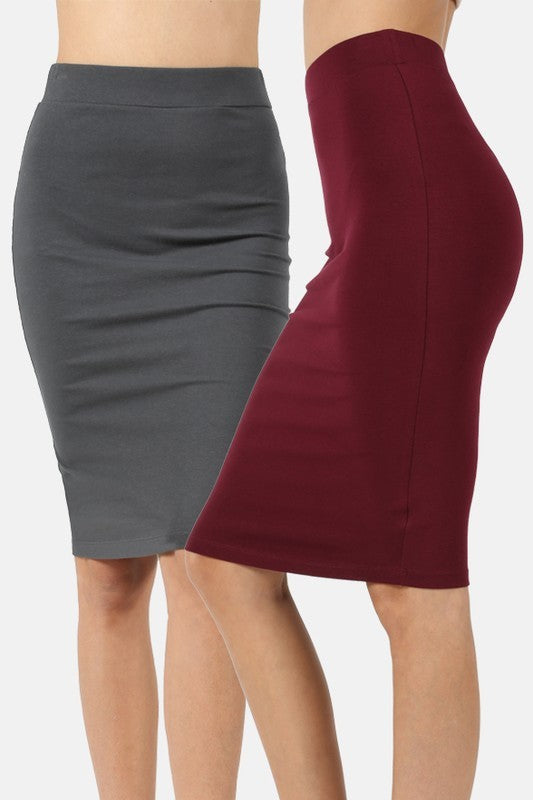 Ponte Pencil Skirt in Maroon