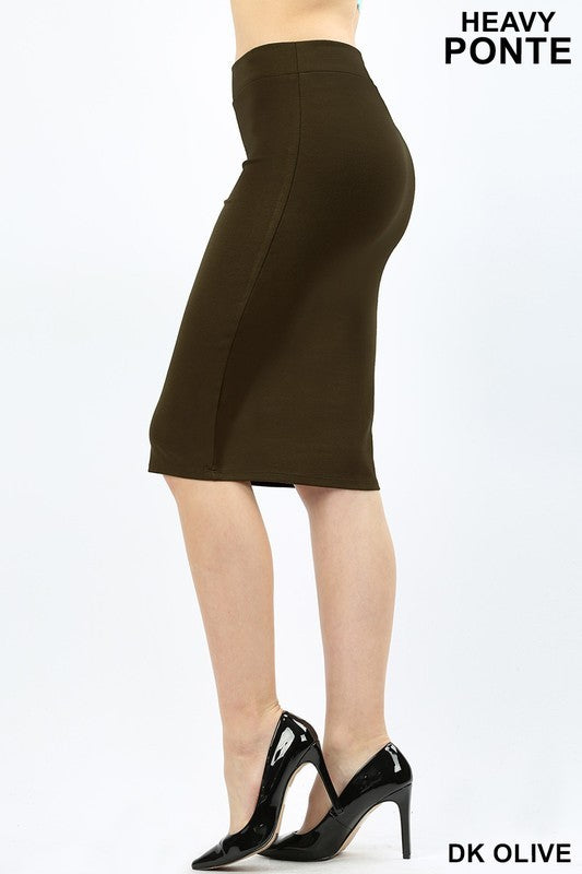 Ponte Pencil Skirt in Olive
