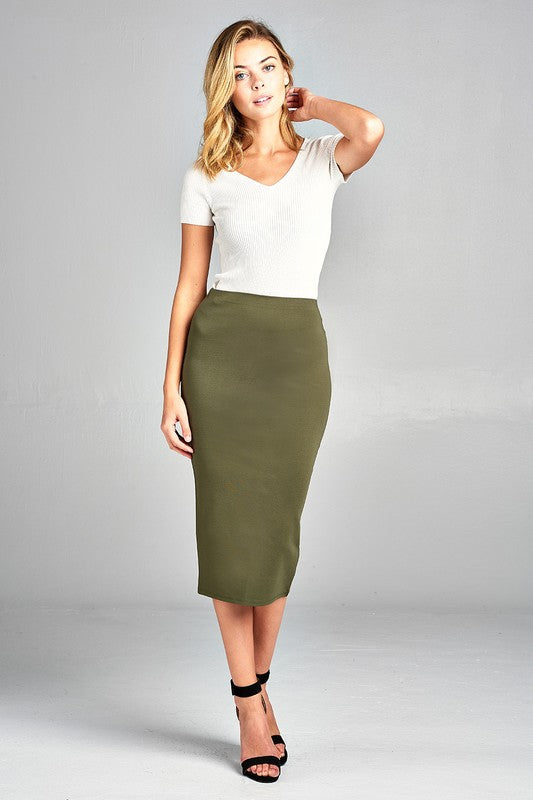 Ponte Pencil Skirt in Sage