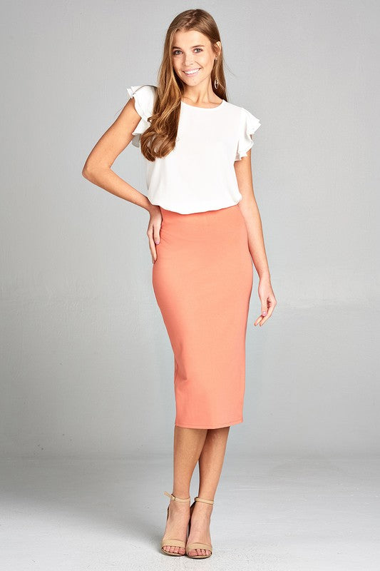 Ponte Pencil Skirt in Burnt Peach