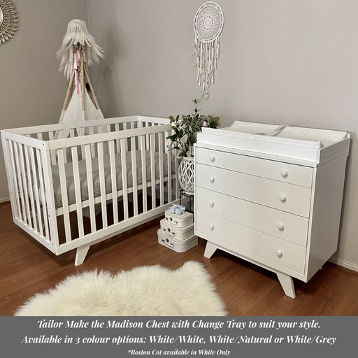 Boston Cot White & Madison 4 Drawer Chest Package - Pre Sale Only