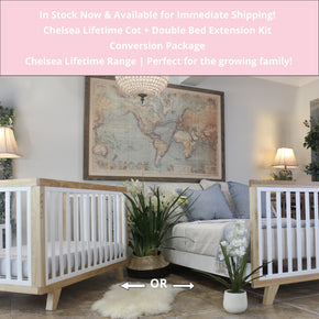 Chelsea Conversion Package Natural - Turn your Dream Nursery into a Dream Bedroom  -  Includes Chelsea Cot + Double Bed Extension Kit.