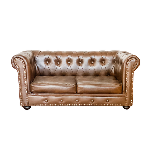 Kids Sized Chesterfield Style Couch - Brown Air Leather