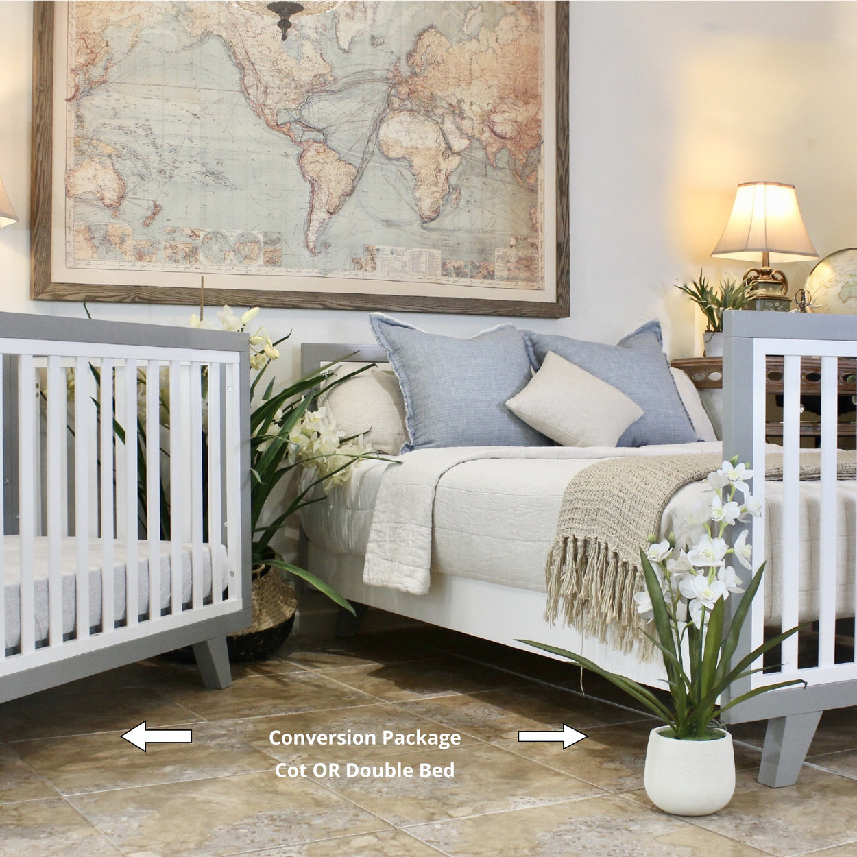 Chelsea Conversion Package Grey - Turn your Dream Nursery into a Dream Bedroom  -  Includes Chelsea Cot + Double Bed Extension Kit.