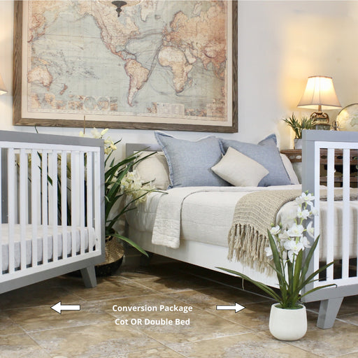 Pre Order Only | Chelsea Conversion Package Grey - Turn your Dream Nursery into a Dream Bedroom  -  Includes Chelsea Cot + Double Bed Extension Kit.