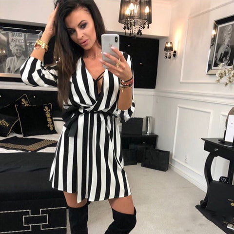 Fall V-Neck Striped Dress