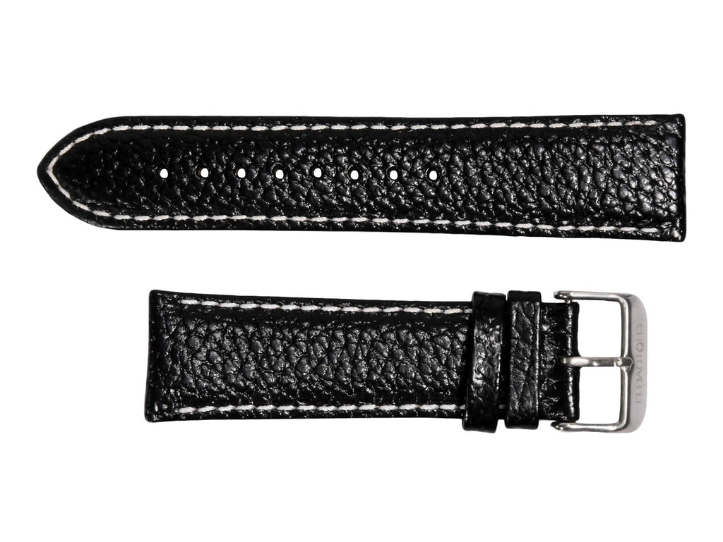 Chotovelli Black Lychee Pattern Genuine Leather Watch Strap - Steel Buckle