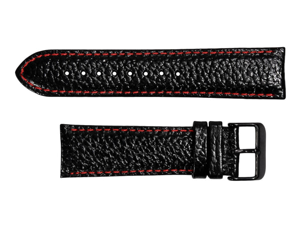 Chotovelli Black Lychee Genuine Leather Watch Strap - Black Buckle