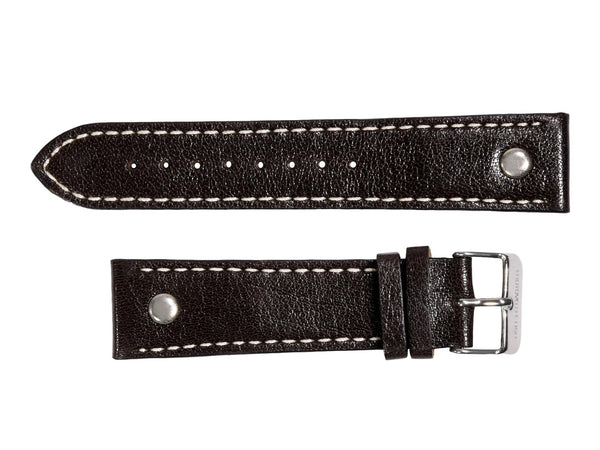 Chotovelli Genuine Vintage Brown Leather Watch Strap - Steel Buckle
