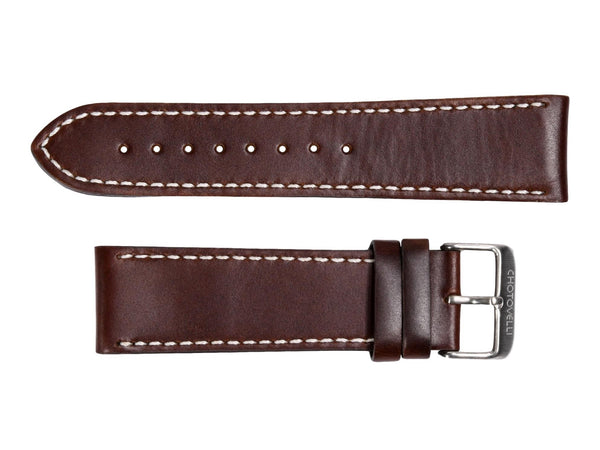 Chotovelli Genuine Brown Leather Watch Strap - Steel Buckle