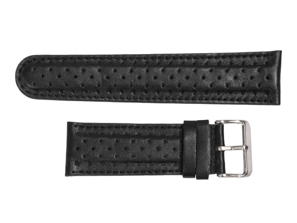 Chotovelli Racing Black Leather Watch Band - Steel Buckle