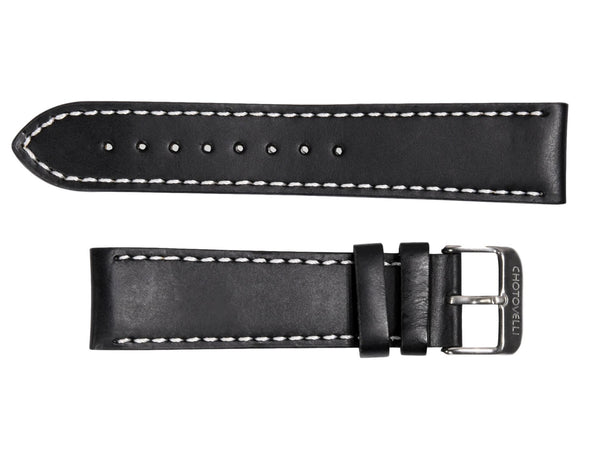 Chotovelli Oily Black Leather Watch Band - Steel Buckle