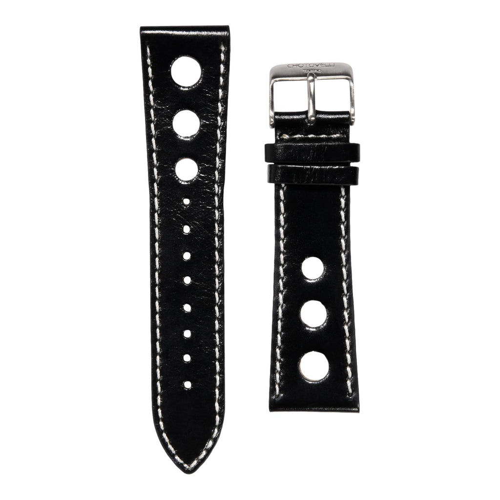 Chotovelli Genuine Leather Rally Racing Sport Watch Strap - Steel Buckle