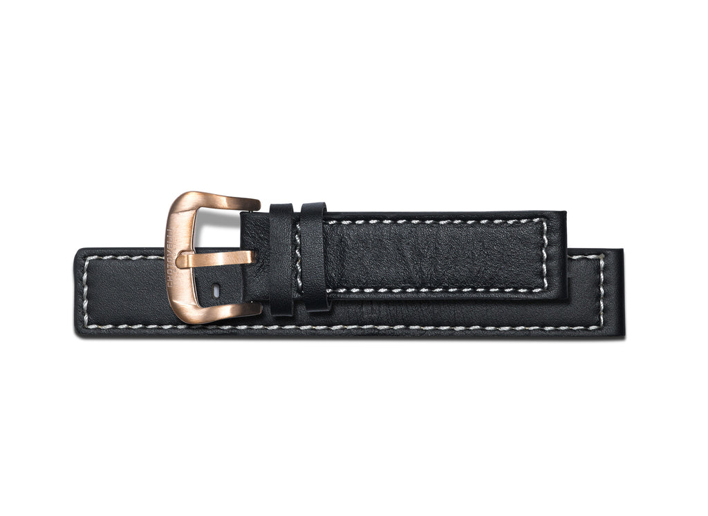 Chotovelli Black Leather Watch Band - Vintage Buckle