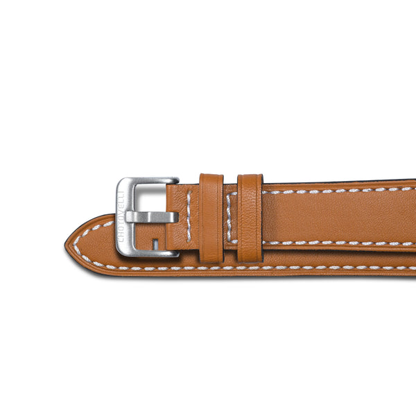 Chotovelli Tan Oil Leather Watch Band Strap - Steel Buckle