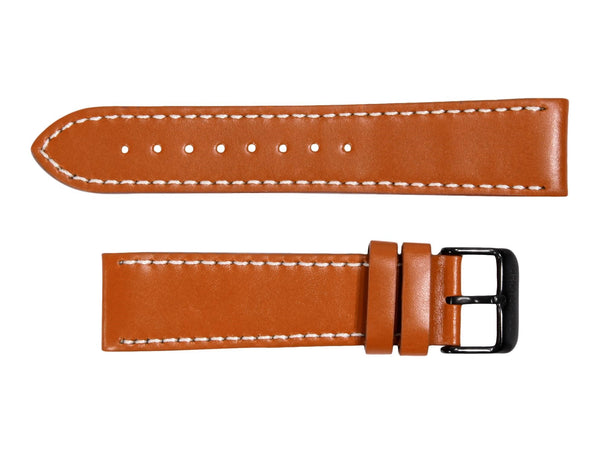 Chotovelli Cognac Brown Genuine Leather Watch Band - Black Buckle