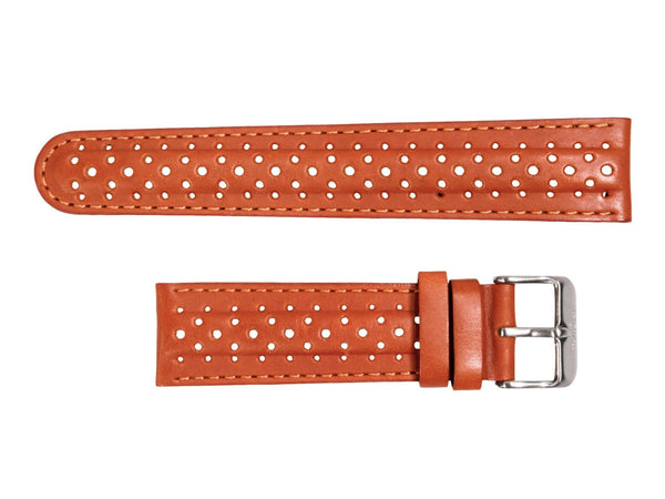 Chotovelli Racing Tan Leather Watch Strap - Steel Buckle