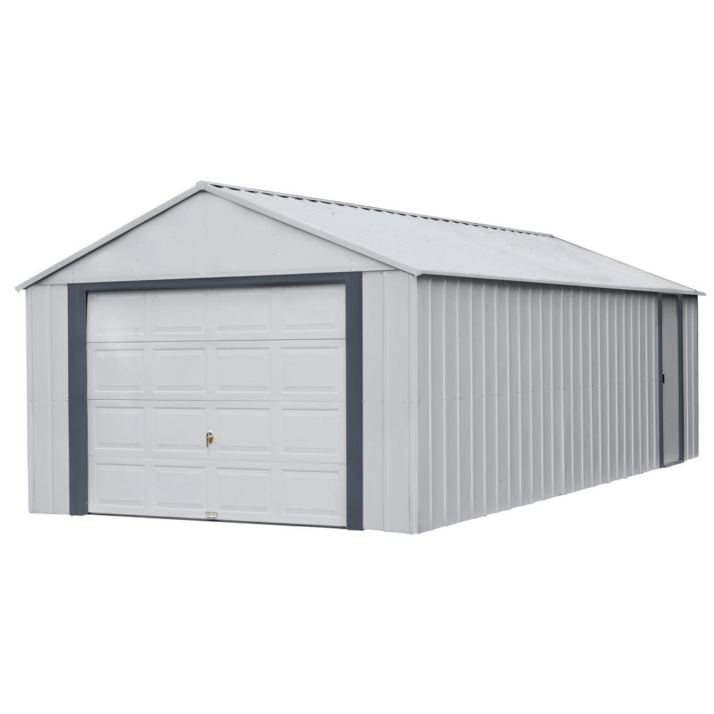ShelterLogic Arrow Murryhill 12 ft. W x 24 ft. D 2-Tone Gray Steel Garage and Storage Building with Side Door and High-Gable Roof