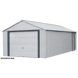 ShelterLogic Arrow Murryhill 14 ft. W x 21 ft. D 2-Tone Gray Steel Garage and Storage Building with Side Door and High-Gable Roof