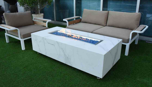 Elementi Carrara Porcelain Fire Table