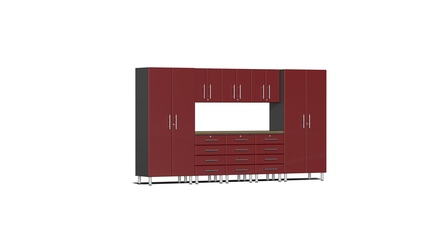 Ulti-MATE Garage Cabinet 2.0 Series 9-Piece Kit with Bamboo Worktop Red